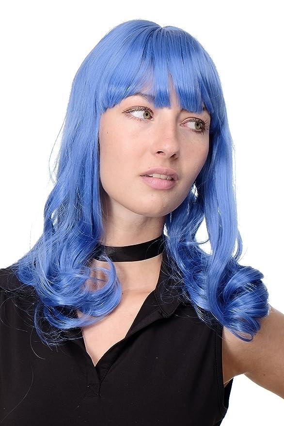 WIG ME UP ® - GFW1044A-T4043 Peluca calidad mujer Cosplay Emo Popstar Pin-Up Gothic flequillo largo ondulado: Amazon.es: Belleza