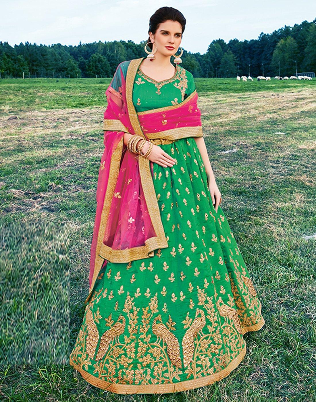 DesiButik's Wedding Wear Ravishing Rama Banarasi Silk Lehenga by DesiButik (Image #2)