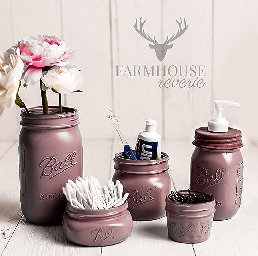 Dusty Plum Mason Jar Bathroom Set | Farmhouse Bathroom Decor | Rustic  Bathroom Decor | Vintage