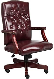 Boss Office Products B905 BY Classic Executive Caressoft Chair With  Mahogany Finish In Burgundy