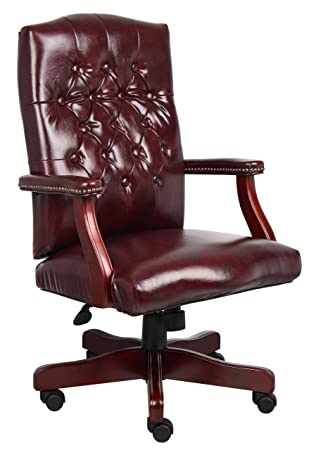 Awesome Boss Office Products Classic Executive Caressoft Chair With Mahogany Finish In Burgundy Machost Co Dining Chair Design Ideas Machostcouk