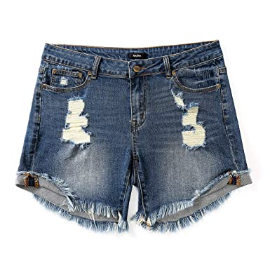 b7da97053ab Image Unavailable. Image not available for. Color  MSSHE Women s Plus Size  Destroyed Washed Short Jeans Pants Denim Shorts