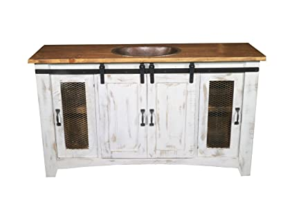 Incredible 60 Inch Distressed White Farmhouse Sliding Barn Door Single Sink Bathroom Vanity Fully Assembled With Copper Drop In Sink Installed 60 Inch White Interior Design Ideas Gentotryabchikinfo