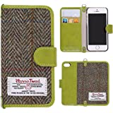 "iPhone SE Case, iPhone 5 5s Wallet Leather Flip Cover, MONOJOY Flip Folio Book Shell with Magnetic Clasp, Harris Tweed Credit Card Holder Money Pouch for iPhone 5 5s SE (iPhone 5/5s/se (4.0"" ), Green)"
