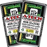 A-Tech 4GB (2x2GB) DDR2 800MHz SODIMM PC2-6400 1.8V CL6 200-Pin Non-ECC Unbuffered Laptop RAM Memory Upgrade Kit