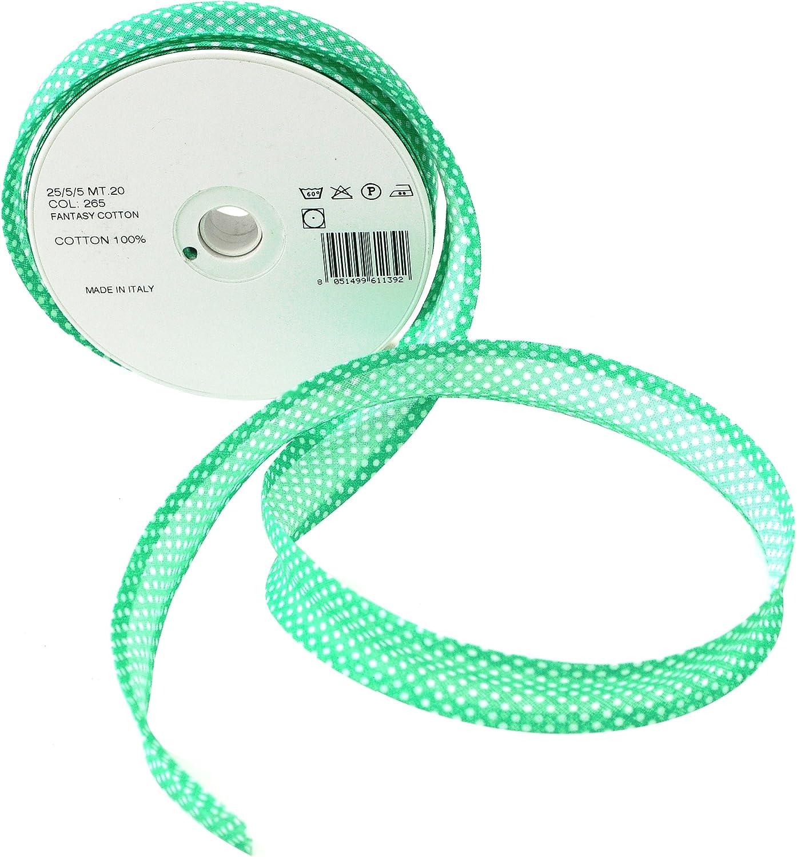 Inastri - Cinta bies de algodón, 25/5/ 5 mm, Color Verde con ...