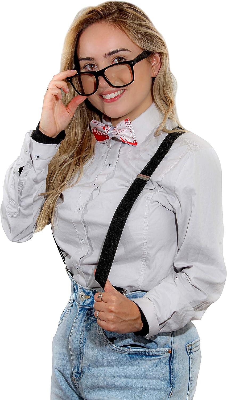 black glasses NWT Adult Nerd Costume 3pc Set Black//orange suspenders and bowtie
