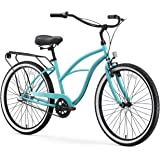 """sixthreezero Around The Block Women's 3-Speed Beach Cruiser Bicycle, 24"""" Wheels, Teal Blue with Black Seat and Grips"""