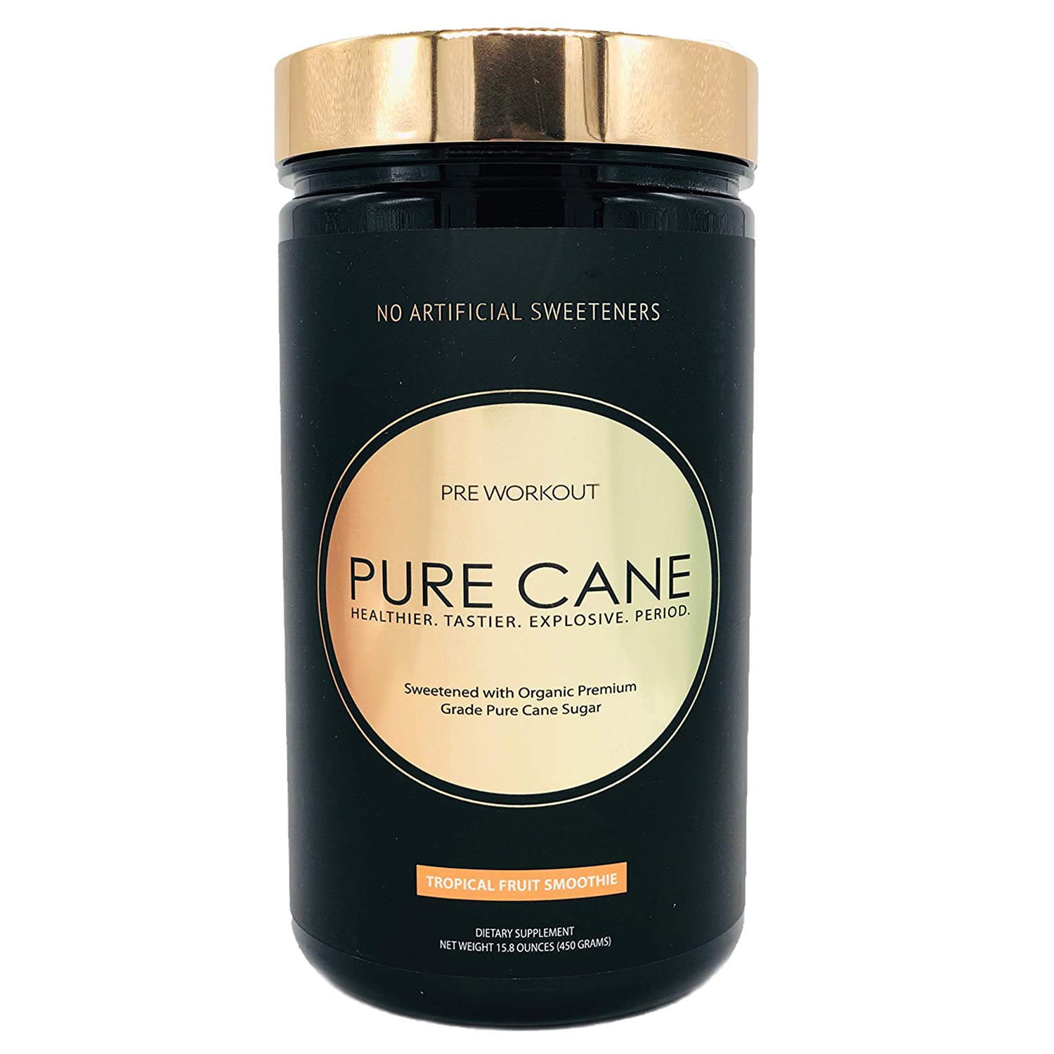Pure Cane Natural Pre Workout – No Artificial Sweeteners, Explosive Energy, Great Taste, Creatine for Strength Gains Nitric Oxide Boosters for Insane Pumps – Tropical Fruit Smoothie