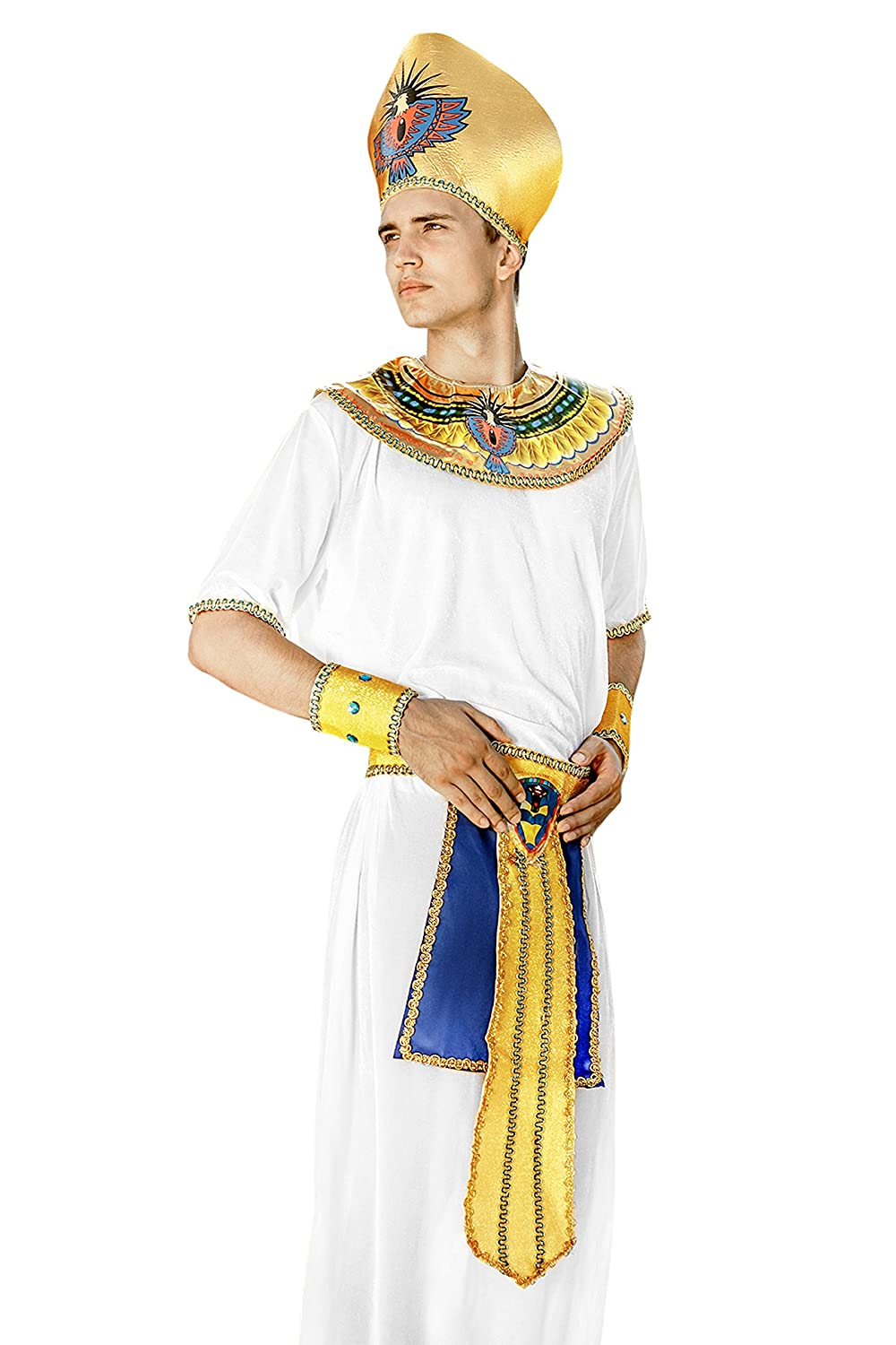 Amazon.com Adult Men Egyptian Pharaoh Halloween Costume King of Egypt Dress Up u0026 Role Play (One Size - Fits All white gold) Clothing  sc 1 st  Amazon.com & Amazon.com: Adult Men Egyptian Pharaoh Halloween Costume King of ...