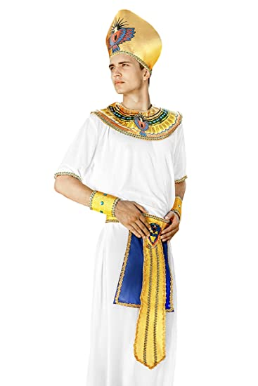Adult Men Egyptian Pharaoh Halloween Costume King of Egypt Dress Up & Role Play (One Size - Fits All, white, gold)