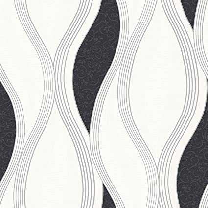Wave Embossed Textured Wallpaper Black E62009