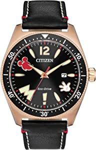 Citizen Eco-Drive Disney Quartz Mens Watch, Stainless Steel with Leather strap, Mickey Mouse, Black (Model: AW1596-08W)