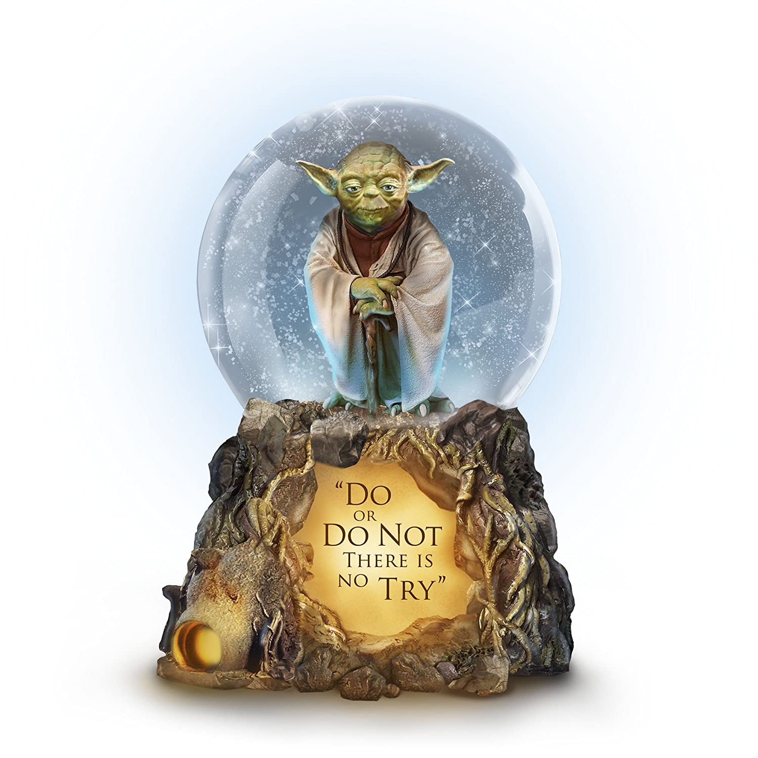 The Bradford Exchange Star Wars™ Jedi Master Yoda™ Lit Musical Glitter Globe – Officially licensed Star Wars™ globe, Sculptural Yoda and base with illumination, music and glitter.
