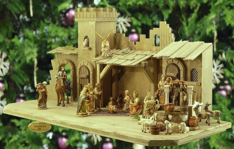 ÖLBAUM-Krippe KB70gg-MF-ORGL-T2LF2 70 cm - Holz-Weihnachtskrippe, mit Holz-Brunnen + PREMIUM-DEKOSET