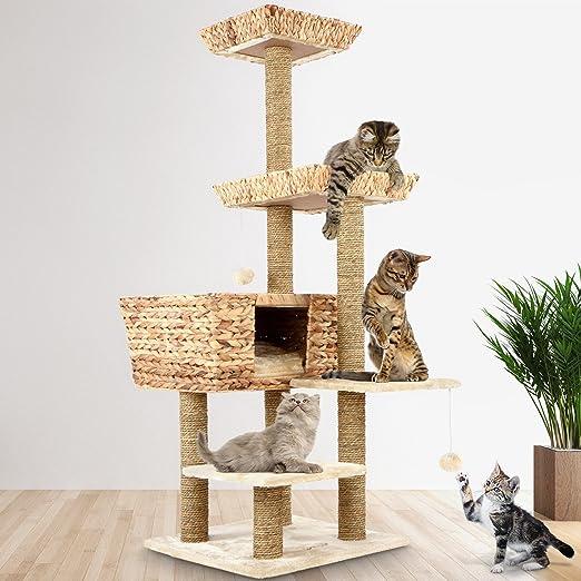 Árbol para Gatos | 60x60x135 cm, con Cesta y 3 Plataformas, Estable Poste de Rascado de Sisal, Beige | Rascador con Nidos, Escalador para Gatos, Arañazo Juguete Sisal: Amazon.es: Hogar