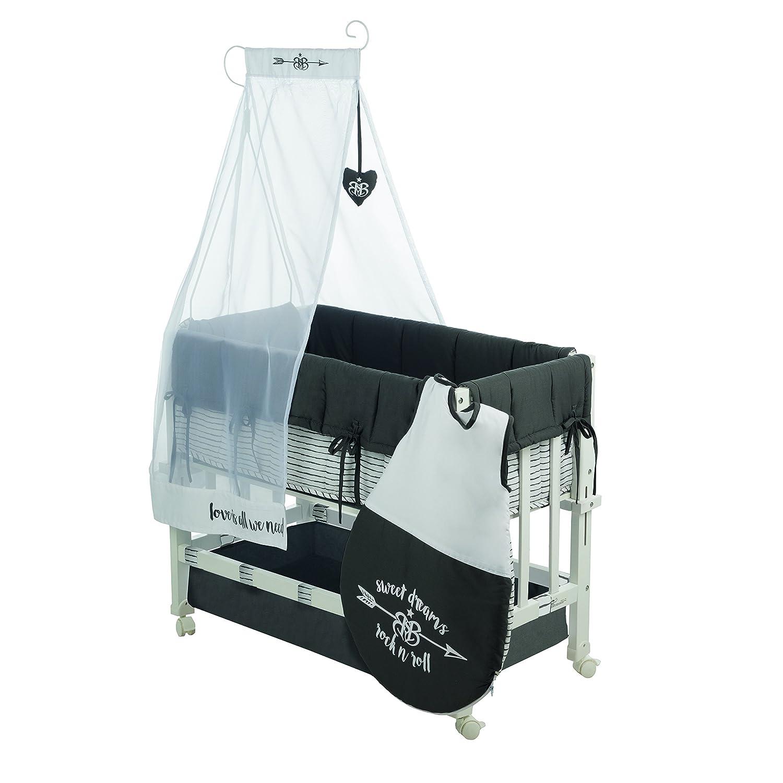 Minicuna robakids 3 en 1 Rock Star Baby 3, cuna de colecho, minicuna y asiento para niños, madera lacada en blanco, incluye vestiduras y saco de dormir: ...