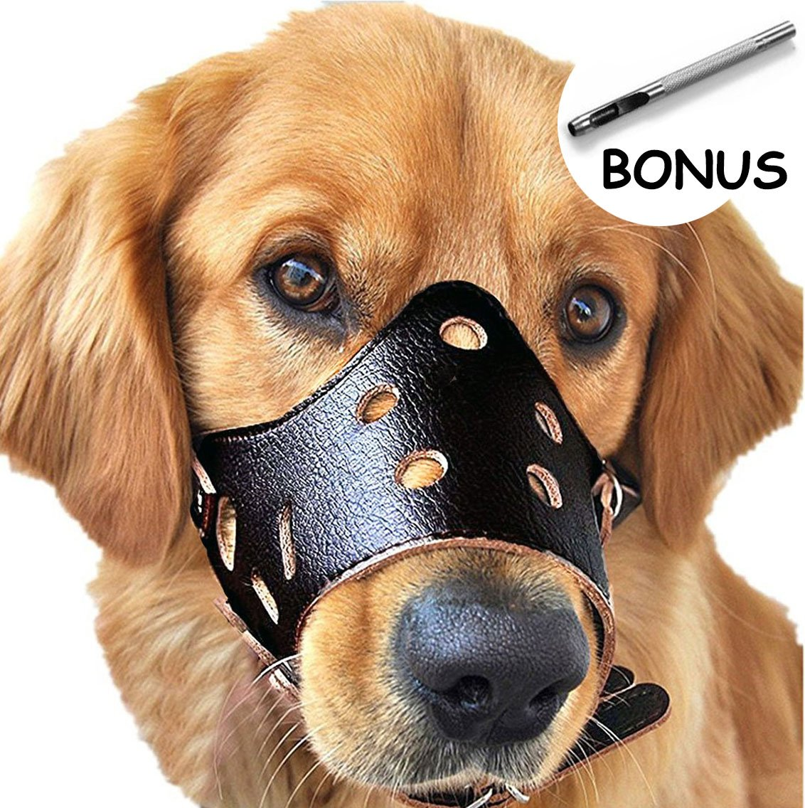 Dog Muzzle Leather, Comfort Secure Anti-barking Muzzles for Dog, Breathable and Adjustable, Allows Dringking and Eating, Used with Collars (L, Black)