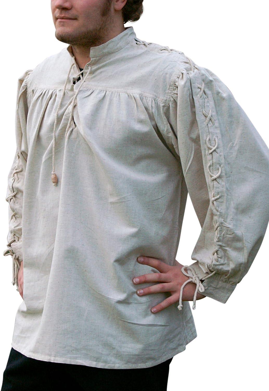 Camisa de la Edad media, en los brazos del paquete, natural de algodón/lino - de la Edad media, Medieval, vikingo, Carnaval de piratas: Amazon.es: Deportes y aire libre