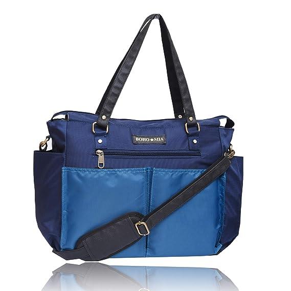 BOHO MIA Classic Multi-Pocket Organizer Extra Large Diaper Bag, Blue