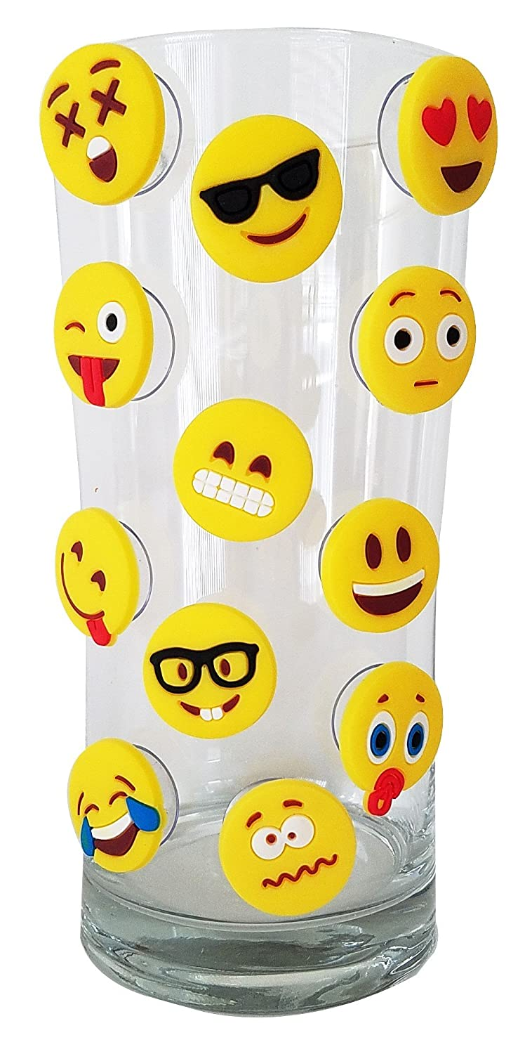 Emoji Charms with Suction 12 Pack, Perfect Markers for Everything from Wine Glass to Red Cups! Lifetime (Combo) Lifetime Inc