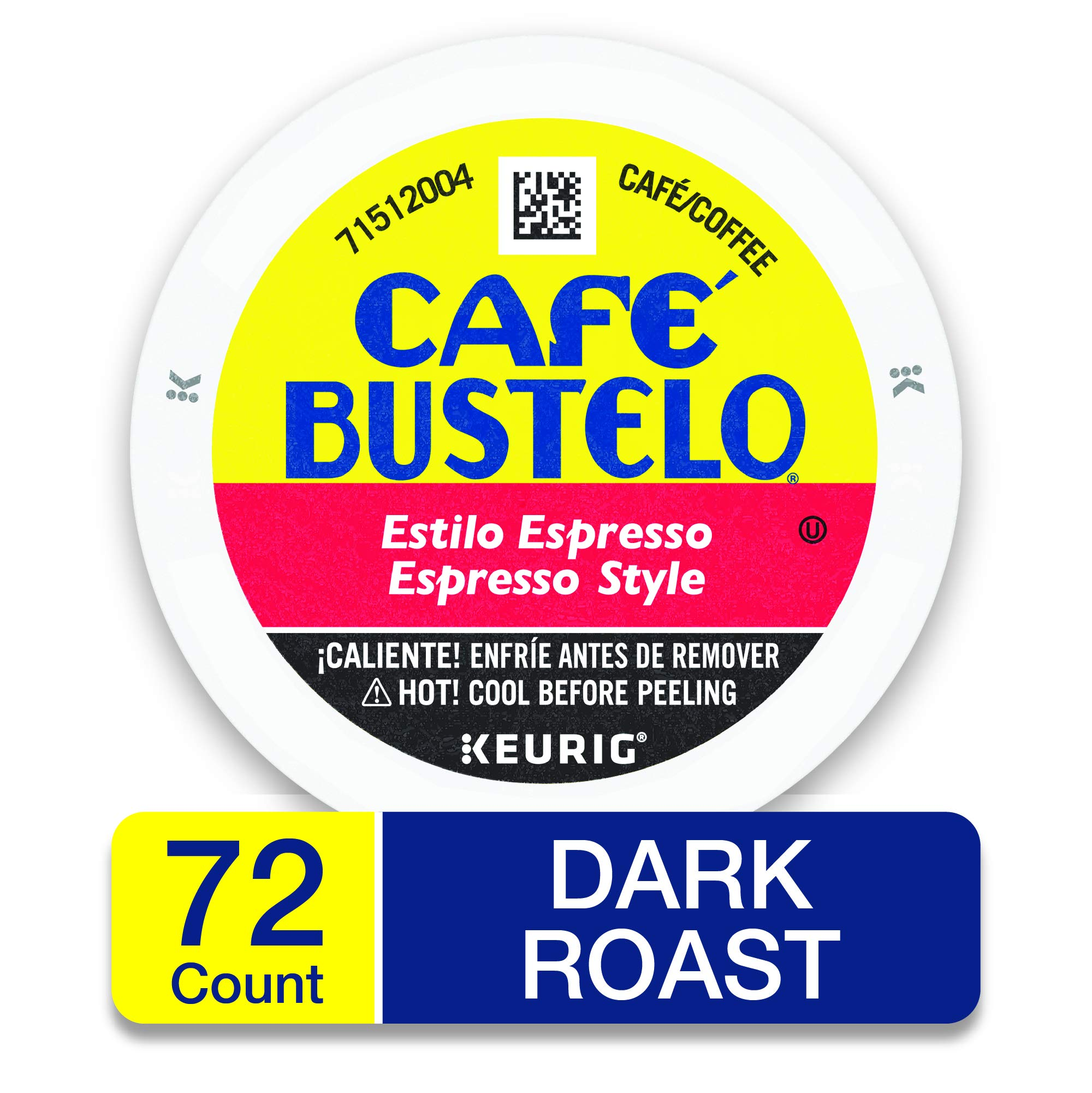 Café Bustelo Espresso Style K Cup Pods for Keurig Brewers, Dark Roast Coffee, 12Count (Pack of 6) by Cafe Bustelo