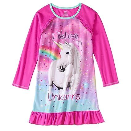 Amazon.com: Big Girls I Believe In Unicorns Long Sleeve Sleep Gown ...