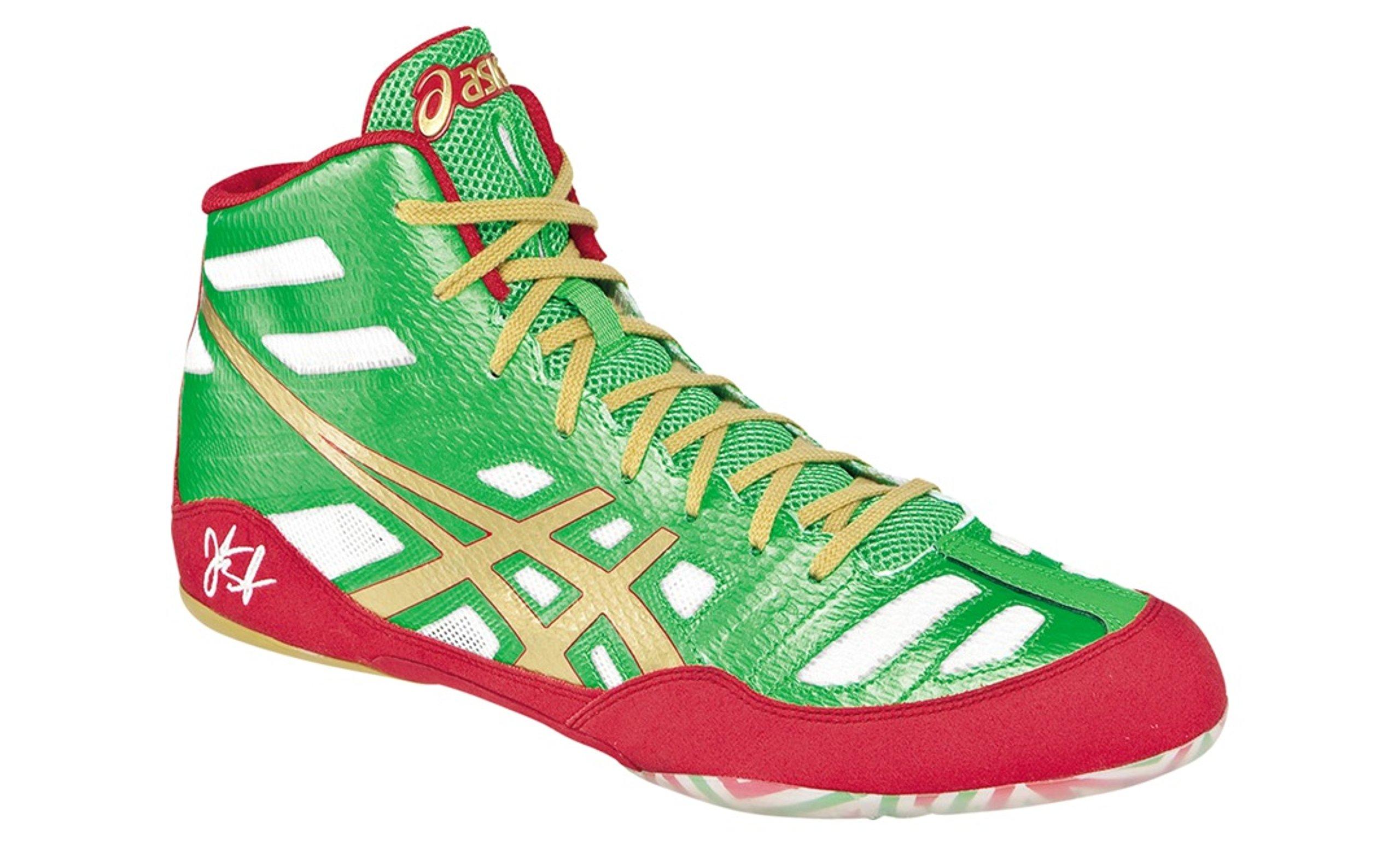 Asics Men's JB Elite Wrestling Shoe - Green/Gold/White - 12.5