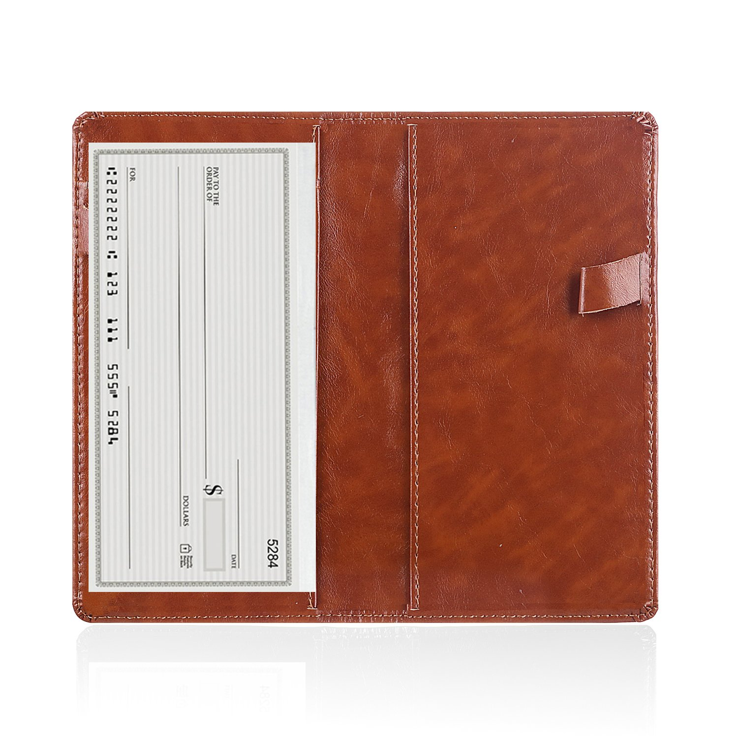 Leather Checkbook Cover Holder with Free Divider-Right and Left Handed Design Checkbook Cover Case for Men&Women