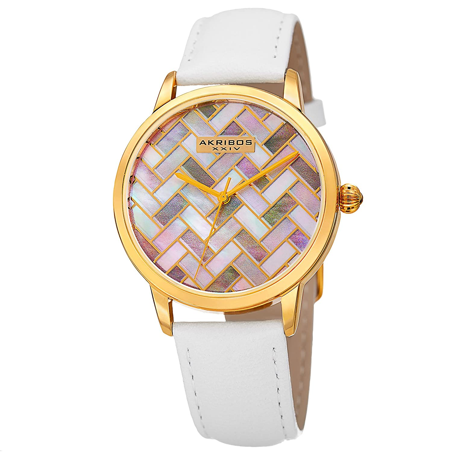 Akribos XXIV AK906 Women s Mother-of-Pearl Mosaic Dial with Glove Style Genuine Leather Strap Watch