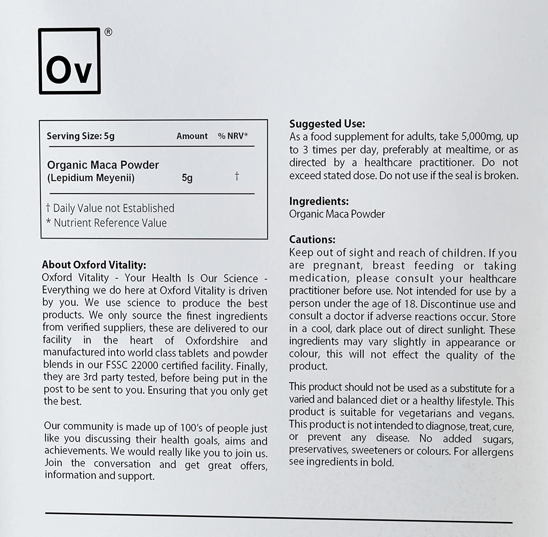 Polvo de Maca Orgánico para Energía General y Vitalidad | Oxford Vitality: Amazon.es: Salud y cuidado personal