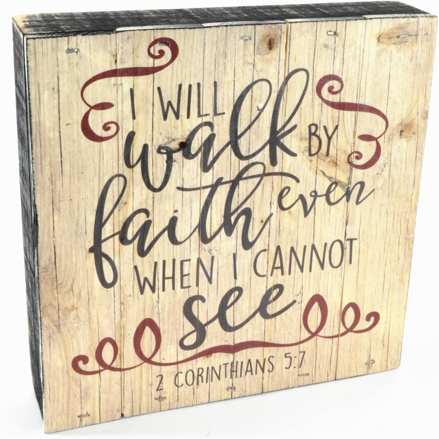 """MRC Wood Products I Will Walk by Faith Even When I Cannot See Pallet Box Sign 7.5"""" x 7.5"""""""
