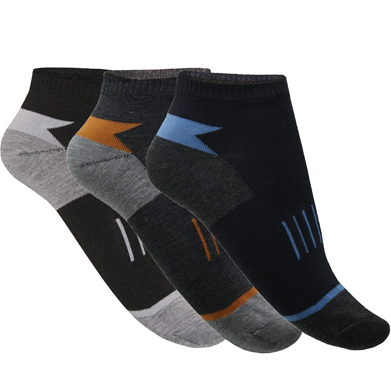 12 24 Paar Sneaker Socken Herren Baumwolle Sport Freizeit Arbeit Bunt Muster Kurz von SGS
