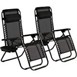 Zero Gravity Chair Lawn Lounge Chair Patio Chairs Set of 2, Adjustable Folding Recliner Lounge Chair Outdoor Zero Gravity Recliner W/Pillow &Cup Holder Can Bear 300Lbs for Patio Lawn Backyard Beach
