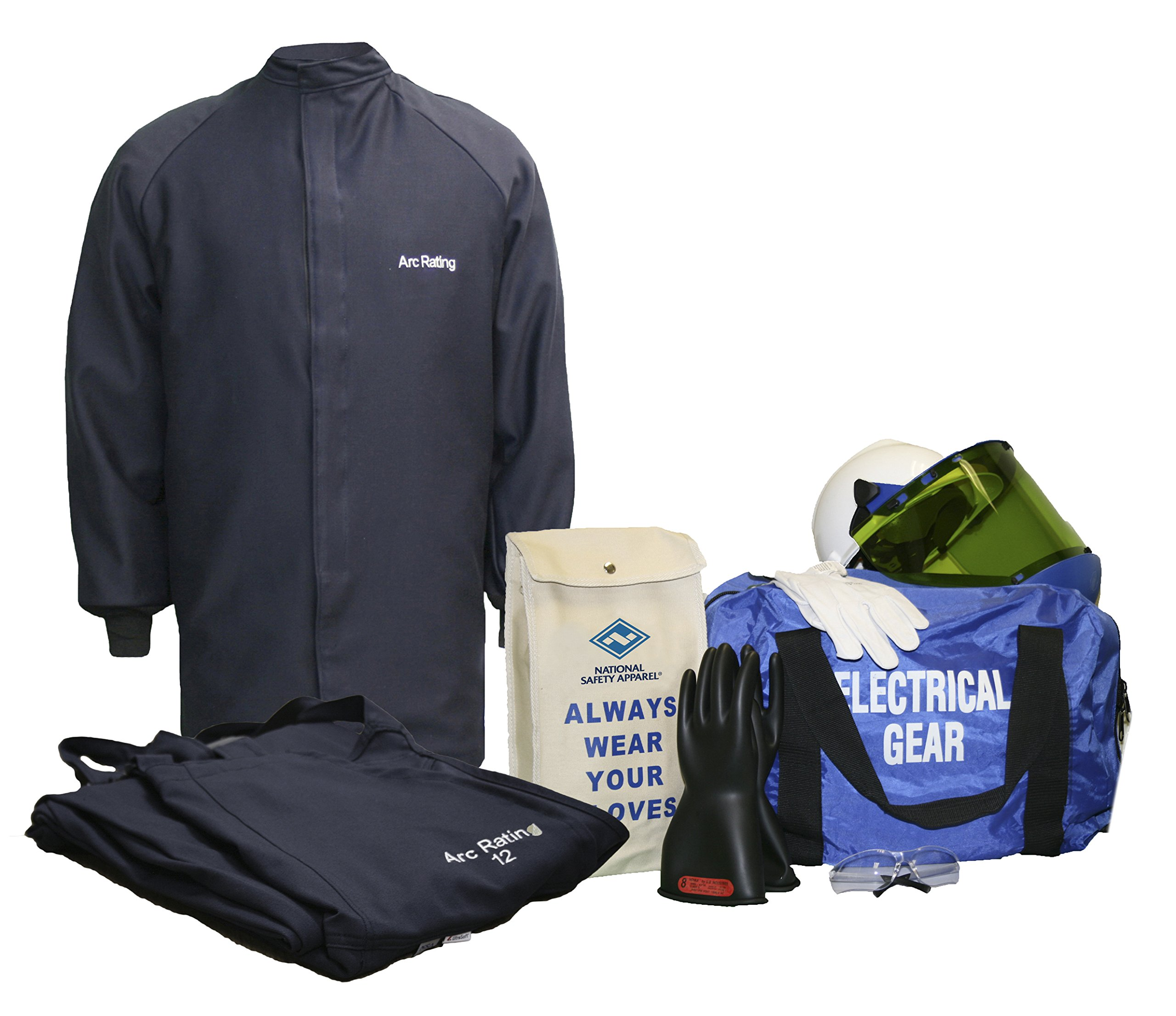 National Safety Apparel KIT2SC112X10 ArcGuard UltraSoft Arc Flash Kit with Short Coat and Bib Overall, 12 Calorie, XX-Large, Size 10, Navy