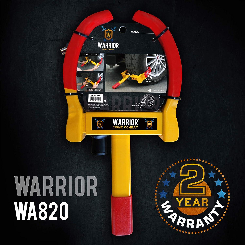 Warrior WA820 Antivol Voiture Sabot Roue Haute s/écurit/é Remorque Caravane Protection Pvc Serrure anti-per/çage R/églable Universelle