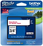 """Brother Genuine P-Touch TZE-242 Tape, 3/4"""" (0.7 mm) Standard Laminated P-Touch Tape, Red on White, Laminated for Indoor or Outdoor Use, Water-Resistant, 26.2 ft (8 m), Single-Pack"""