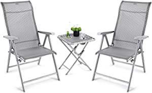 OT QOMOTOP 3 Pieces Outdoor Patio Bistro Sets, 2 Adjustable Lounge Chairs with 1 Cup Holder Side Table,All Weather Resistant Conversation/Wine Outdoor Furniture for Patio, Lawn, Outdoor and Camping