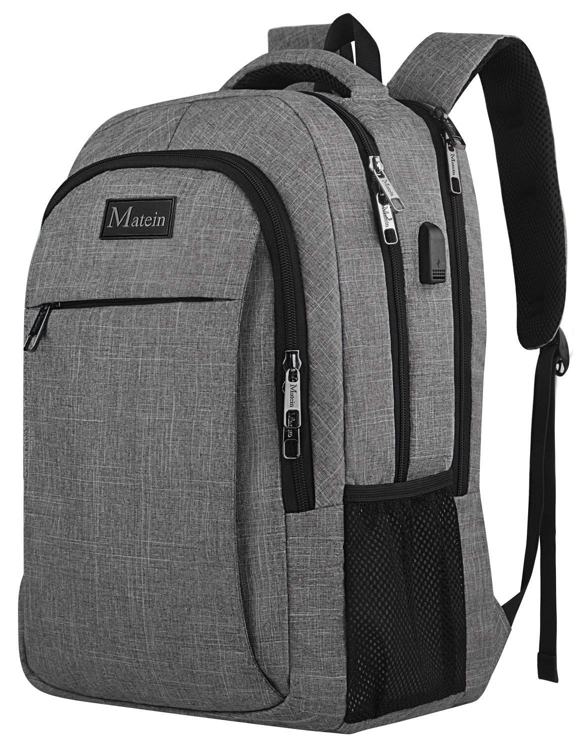 Travel Laptop Backpack,Business Anti Theft Slim Durable Laptops Backpack with USB Charging Port,Water Resistant College School Computer Bag for Women & Men Fits 15.6 Inch Laptop and Notebook - Grey by MATEIN