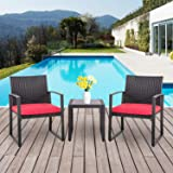 Shintenchi 3 Pieces Patio Set Outdoor Wicker Patio Furniture Sets Modern Bistro Set, Two Chairs with Glass Coffee Table Ratta