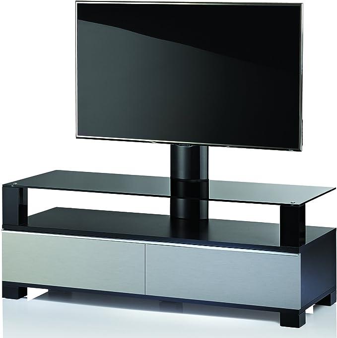 VCM 17178 Ravano – Mueble TV con Soporte de Madera Aluminio/Vidrio Acabado Acero/Negro Lacado 140 x 44 x 43 cm: Amazon.es: Hogar