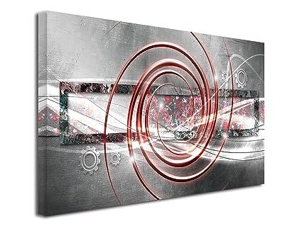 DECLINA, Décoration Murale Tableau, Tableau Deco Home, Tableau Deco Murale  Salon, Tableau Toile Abstrait décoration ROUAGES 80x50 cm Rouge