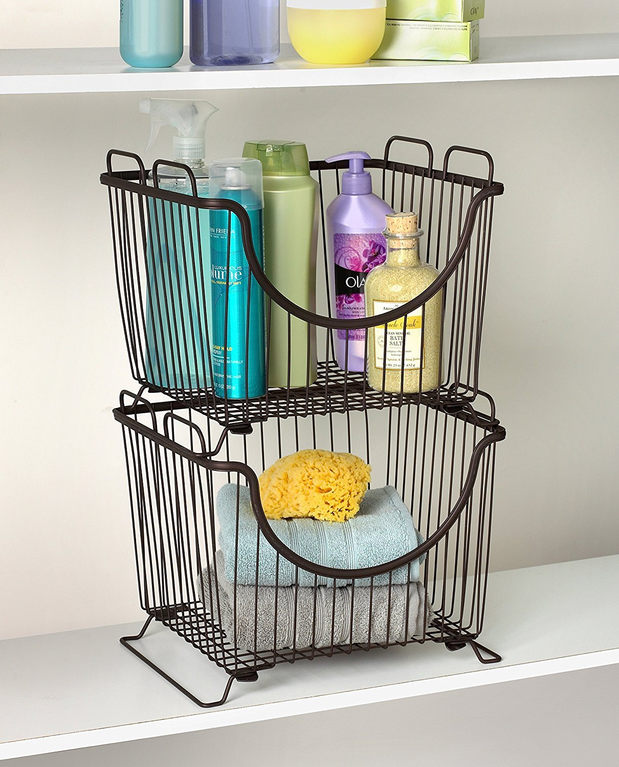 Amazon.com: Spectrum Diversified Ashley Stackable Basket, Large, Bronze:  Home U0026 Kitchen