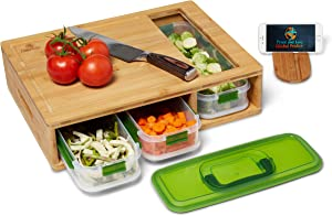 Peace and Love Global Products Bamboo Cutting Board with Drawers - Meal Prep Container - Food Storage - Large Chopping Block - Juice Groove - Food Sliding Opening - Cutting Board with 3 Air Tight lids