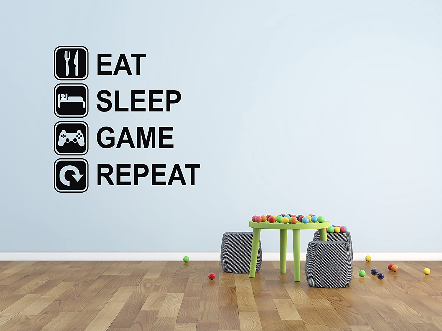 Eat Sleep Game Repeat Wall Decal - Gaming Wall Decals - Art Mural Player Decor Gamer Vinyl Sticker Decalzone Inc
