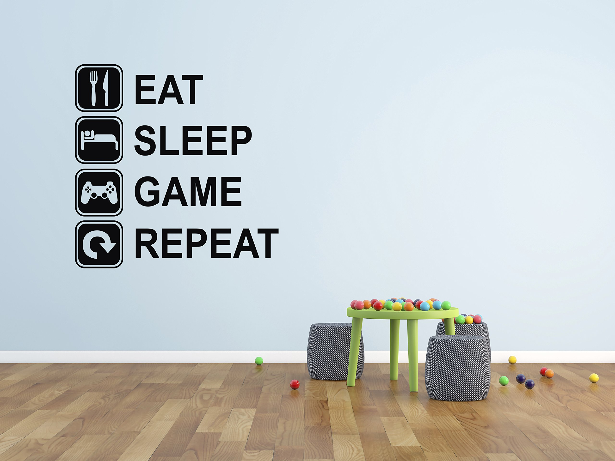 Eat Sleep Game Repeat Wall Decal - Gaming Wall Decals - Art Mural Player Decor Gamer Vinyl Sticker