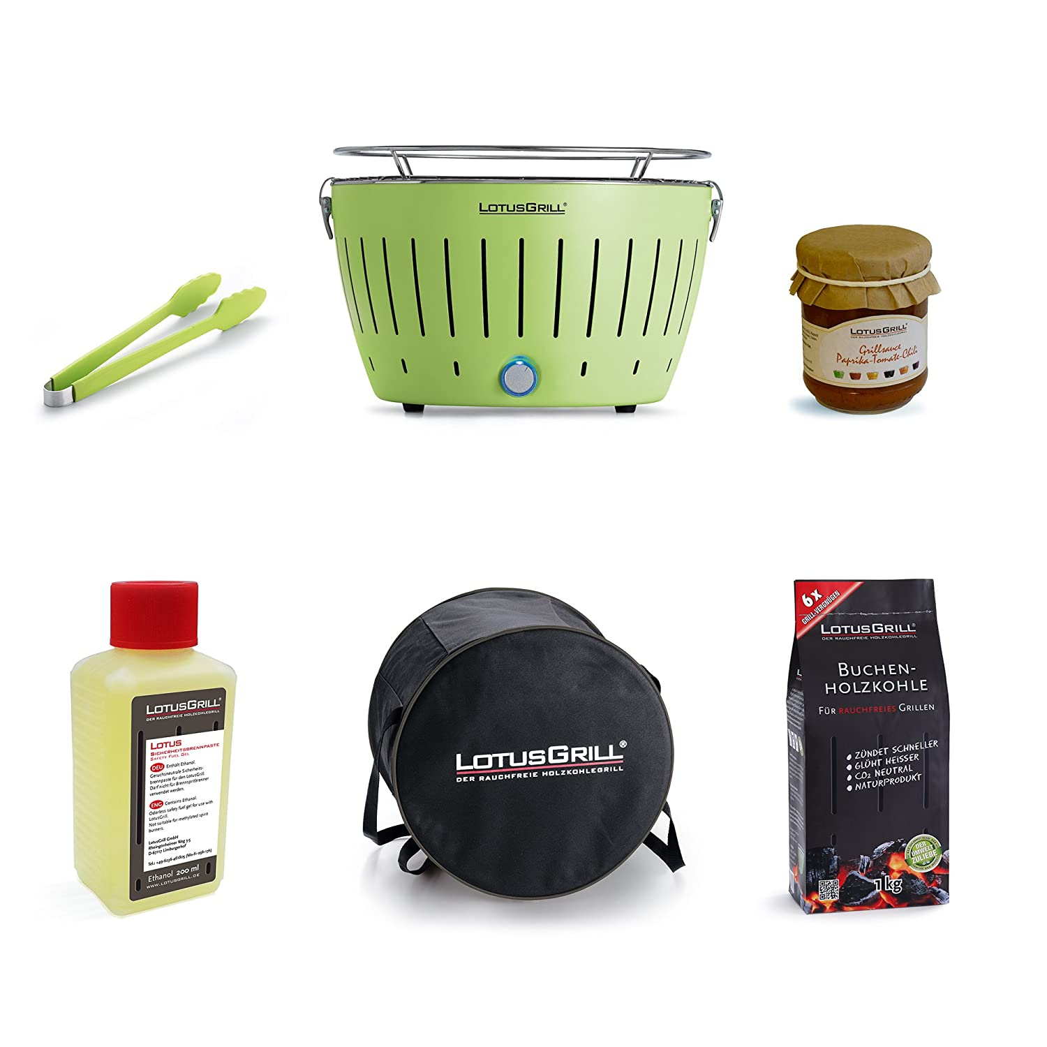LotusGrill Starter Set 1x LotusGrill Lime Green 1x beech charcoal 1 kg, 1x burning paste 200 ml, 1x LotusGrill tongs lime green, 1x transport tray, 1 x LotusGrill Special Grillsauce - The smokeless charcoal grill / table grill Only the latest technology!