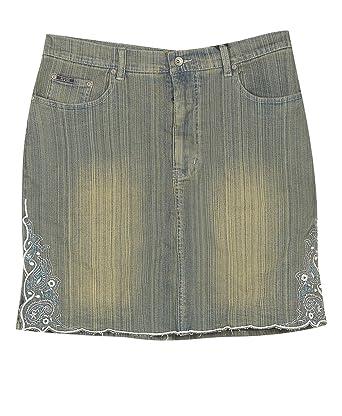 Plus Size Embroidered Short Denim Skirt at Amazon Women's Clothing ...