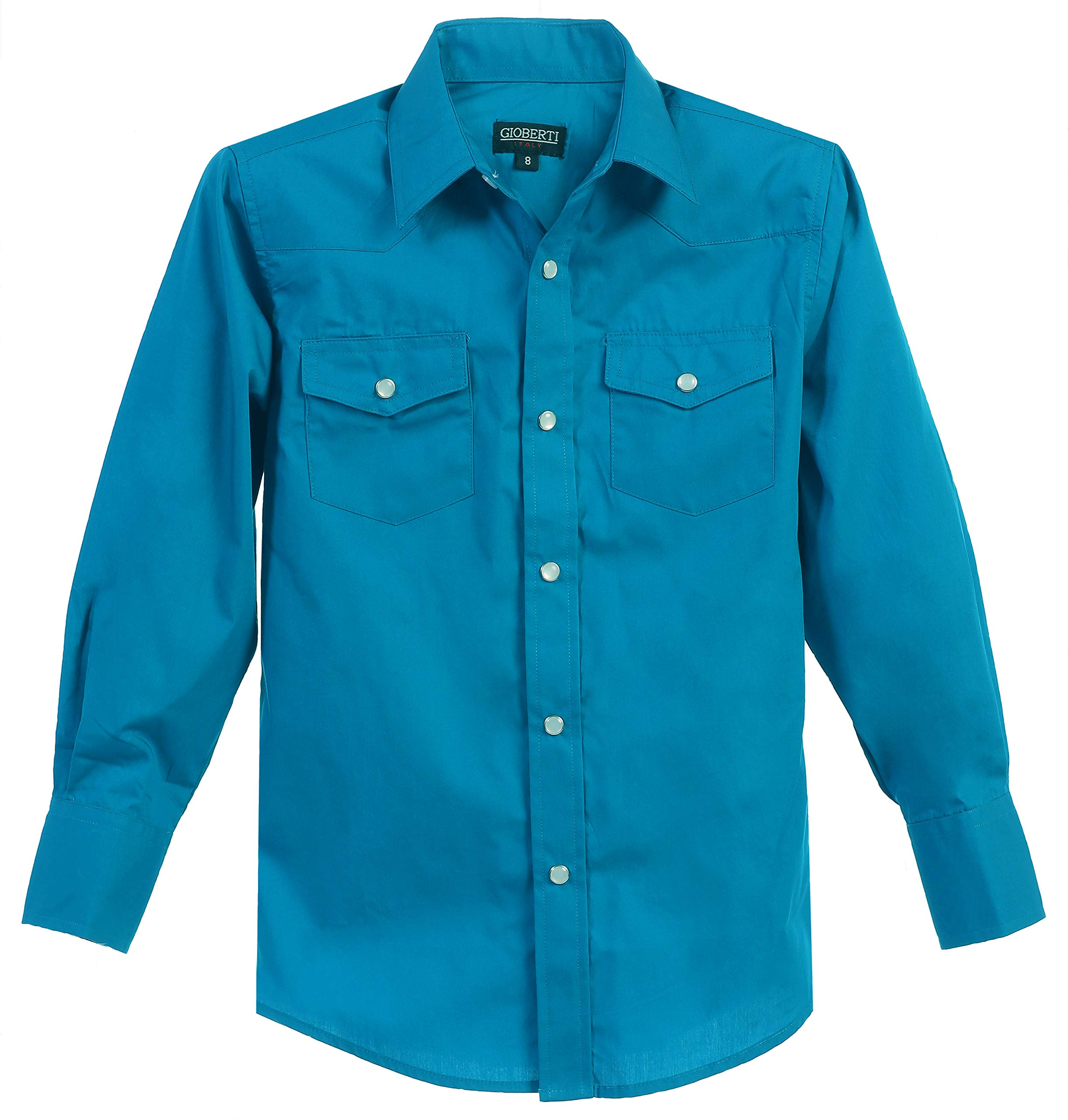 Gioberti Big Boys Casual Western Solid Long Sleeve Shirt with Pearl Snaps, Turquoise, Size 10