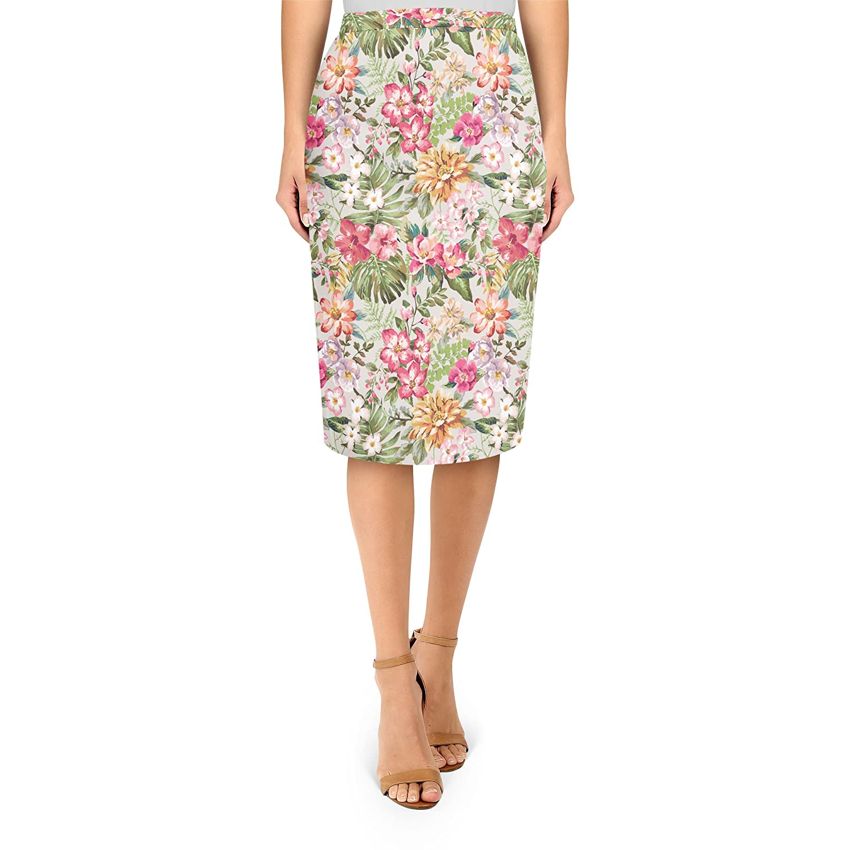 Bright Vintage Flowers Midi Pencil Skirt